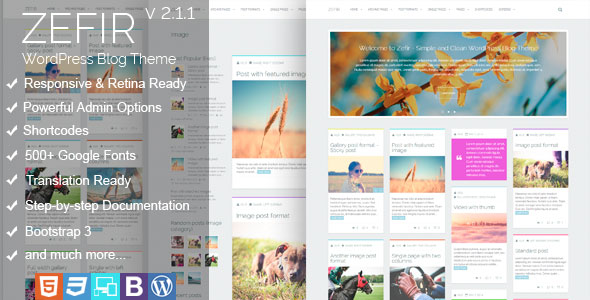 Free Download Zefir V2.0 Simple and Clean WordPress Blog Theme