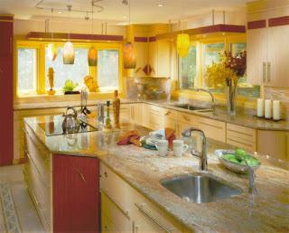 cocina en amarillo y rojo