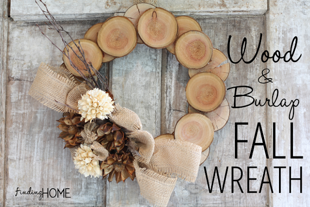 This wood and burlap fall wreath is so unique and creative! You can make one for yourself and one for a friend and no two will look alike! This tutorial comes from Laura at Finding Home
