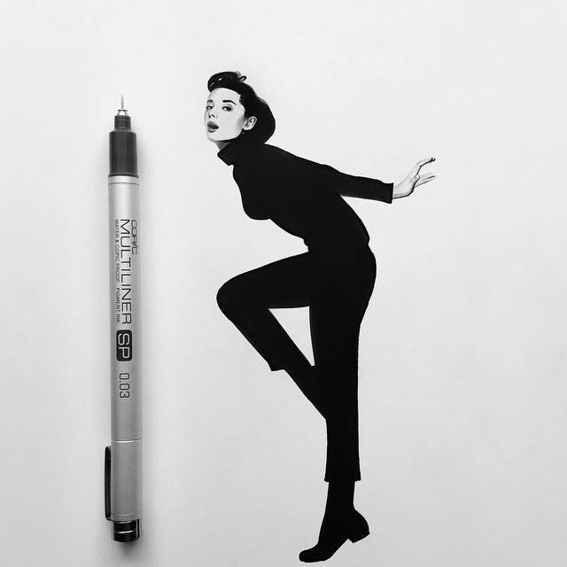 03-Audrey-Hepburn-Johanna-Jackdevilart-Portraits-and-Full-Bodied-Miniature-Drawings-www-designstack-co