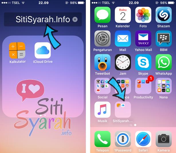 membuat folder menu iphone