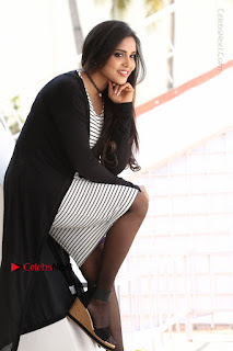Telugu Actress Karunya Chowdary Stills in Black Dress at Soda Goli Soda Movie Opening  0079.JPG