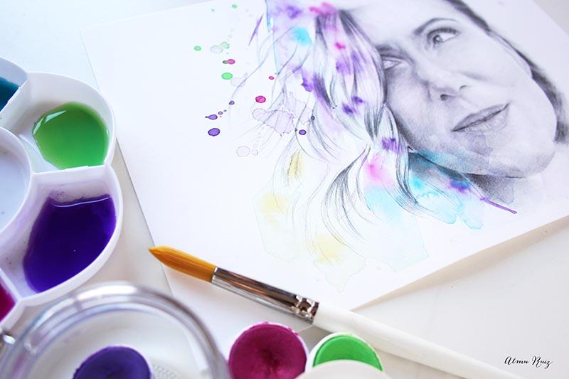 Retrato de Sol Aguirre dibujado a lápiz y acuarela