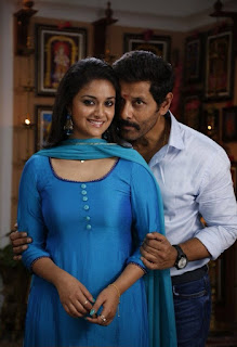 Keerthy Suresh in Blue Dress with Cute and Awesome Lovely Chubby Cheeks Smile with Vikram 1