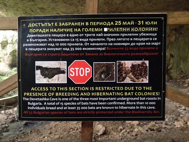 Cartel informativo sobre murciélagos en Devetashka Cave