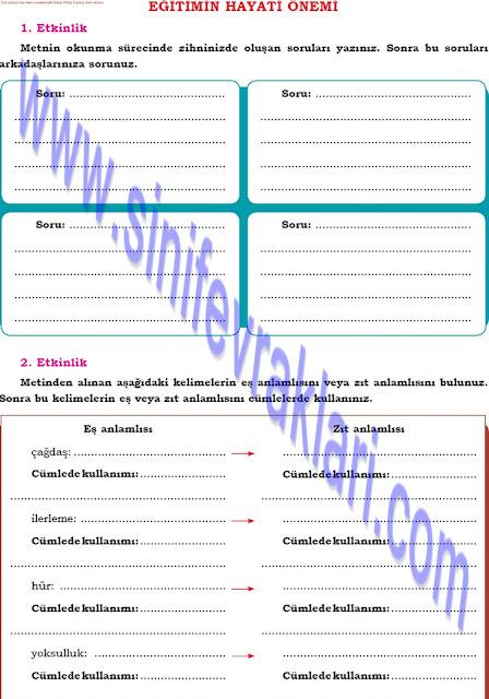 Dörtel Yayınları 8. Sınıf Türkçe Çalışma Kitabı Cevapları Sayfa 42