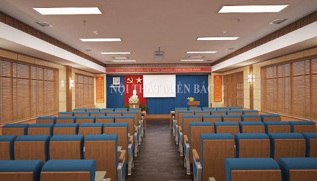 Thiết kế nội thất hội trường sang trọng với việc lựa chọn những bộ bàn ghế phù hợp với không gian để tạo sự khoa học và tăng tính thẩm mỹ