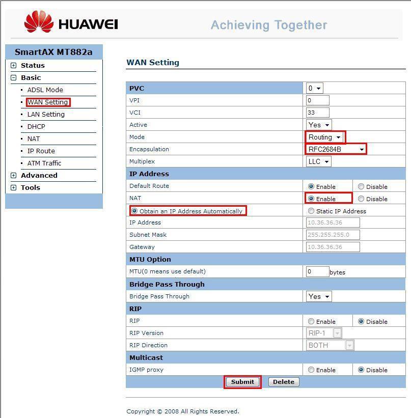 Internet lento-modem huawei smartax mt882a configuración ip.