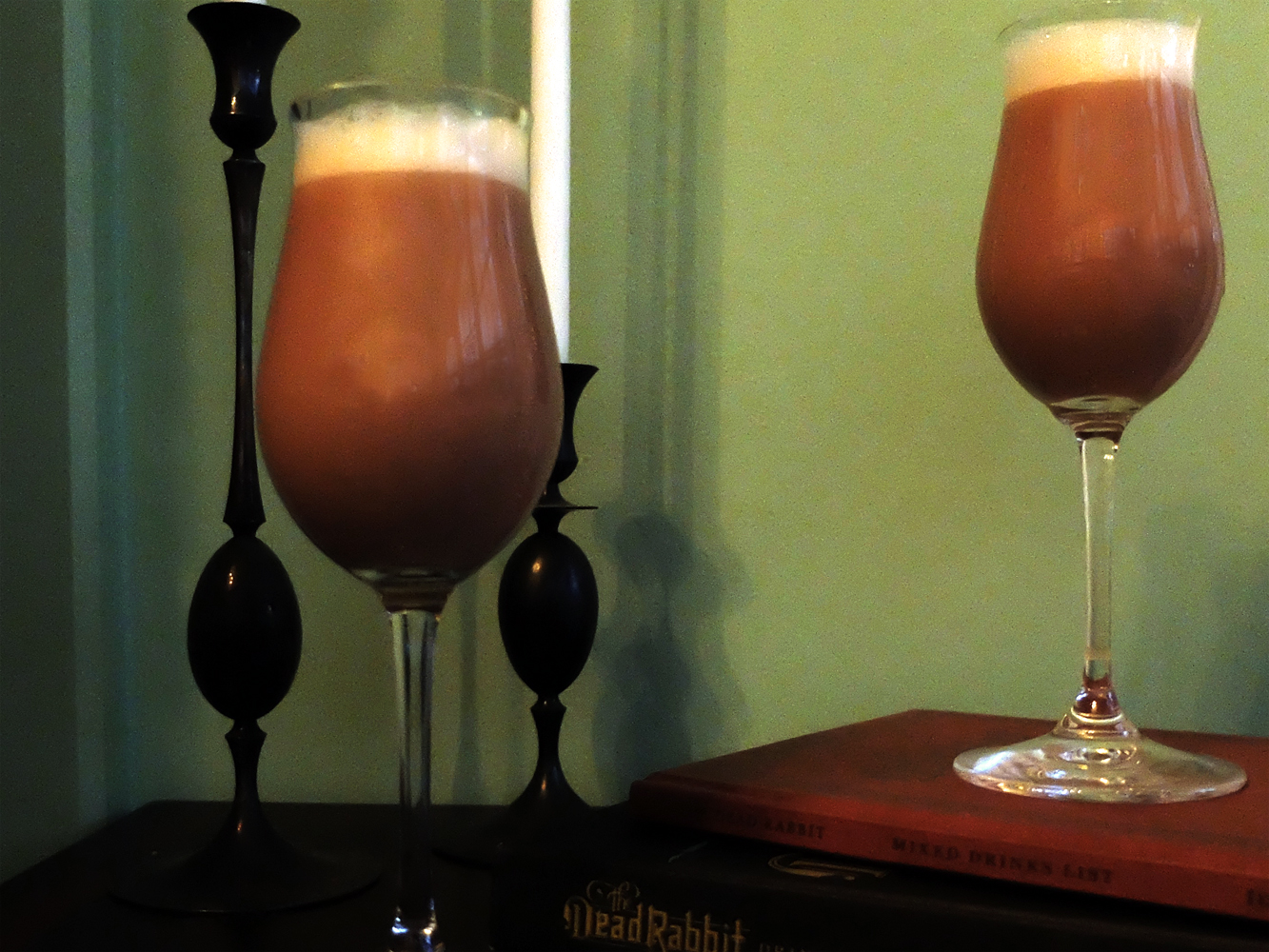 Mulled Egg-Wine for two, served in sherry glasses.