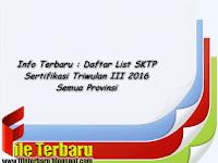 Info Terbaru : Daftar List SKTP Sertifikasi Triwulan III 2016 Semua Provinsi