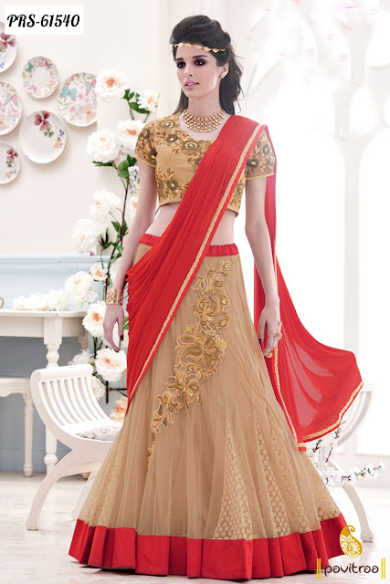 Red beige color lycra designer saree collection online with cash on delivery service in India