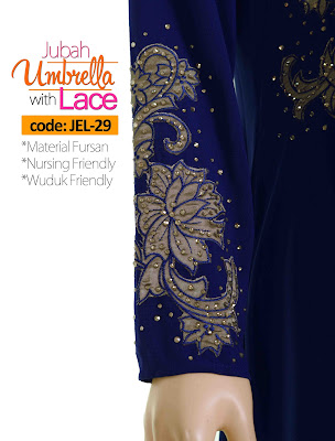 Jubah Umbrella Lace JEL-29 Blue Tangan 1