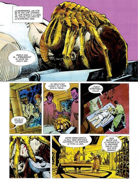 Página del cómic de Alien, el octavo pasajero