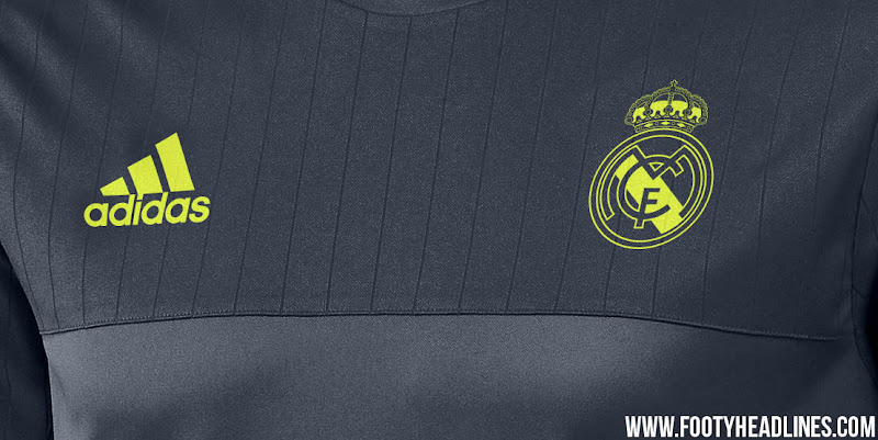 0dfbad914 The new Adidas Real Madrid 2015-2016 Training Jerseys come in white and  dark gray with striking yellow accents