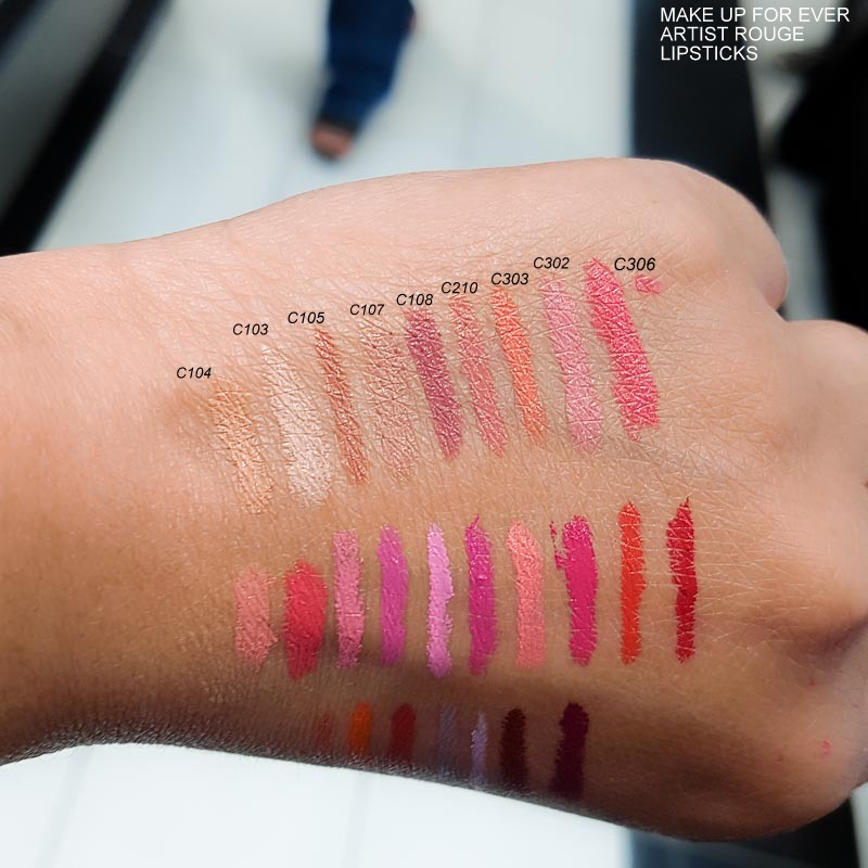 MUFE Make Up For Ever Artist Rouge Lipsticks - Swatches - C104 - C103 - C105 - C107 - C108 - C210 -C303 - C302 - C306