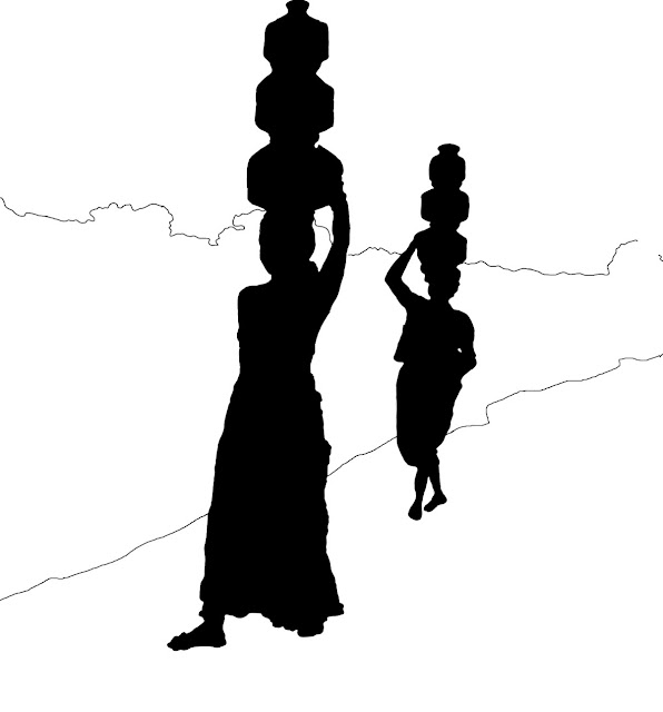 silhouette of tribal women with pots on head