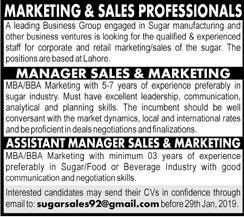 Sales And Marketing Manager, Assistant Manager Required 20 January 2019