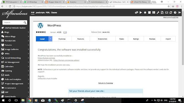 Kelas Informatika - Install Wordpress dengan Auto Installer Berhasil