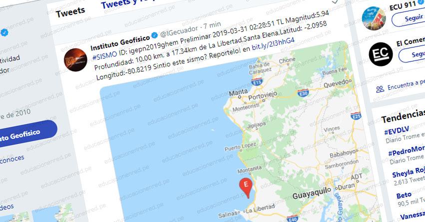 Terremoto en Ecuador de Magnitud 5.9 y Alerta de Tsunami (Hoy Domingo 31 Marzo 2019) Sismo - Temblor - Epicentro - La Libertad - Santa Elena - www.igepn.edu.ec