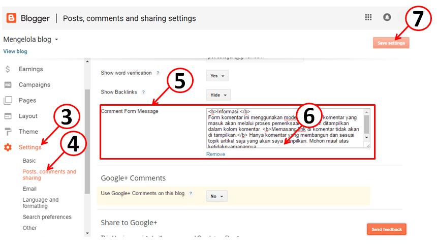 cara menambahkan pesan komentar di blog