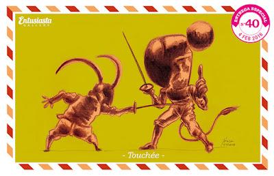 Criaturas haciendo esgrima ilustradas por Jésica Cichero