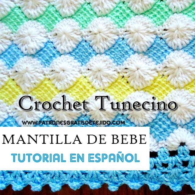 tutorial manta para bebe ganchillo tunecino