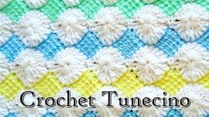 Mantilla o cobija de bebé en crochet tunecino / Tutorial en Español