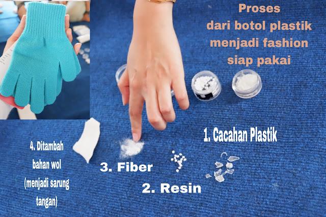 proses daur ulang botol plastik menjadi produk sarung tangan