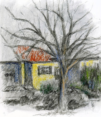 art sketch plein air house charcoal tree pastel