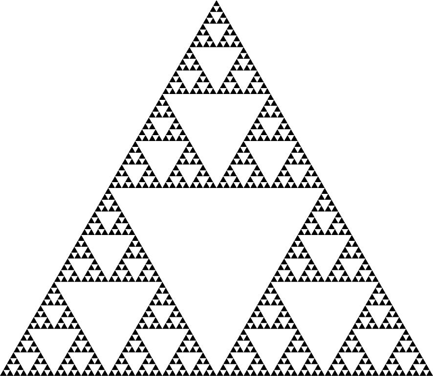 Kuva Sierpinskin kolmiosta.