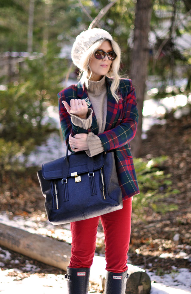 plaid jacket, red pants, hunter boots