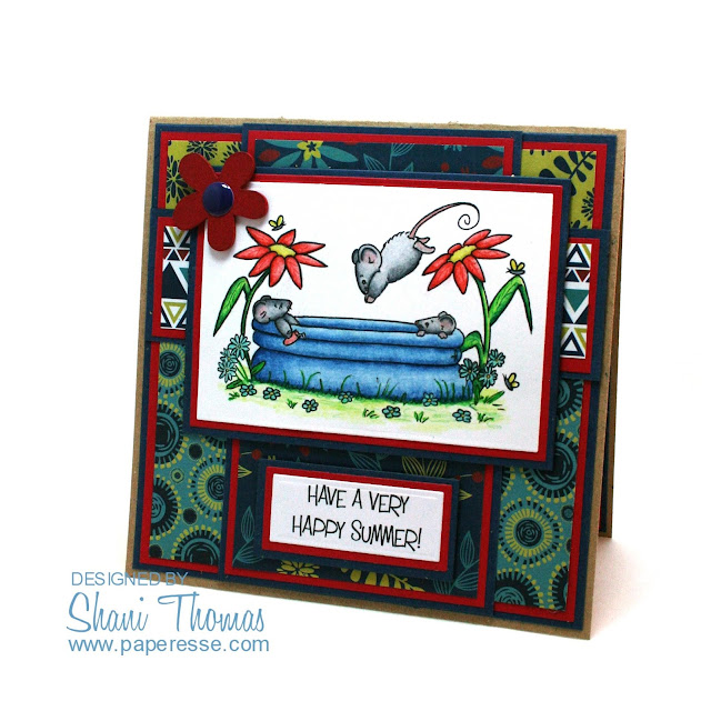 Happy Summer card featuring Sliekje Digi Stamps wading pool mice freebie, by Paperesse.
