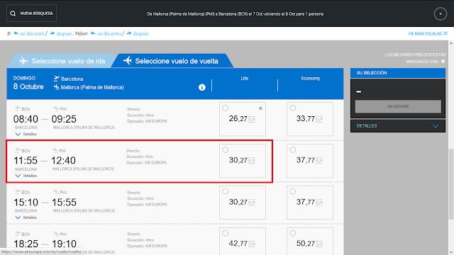 Captura de pantalla con el precio ofrecido por Air Europa