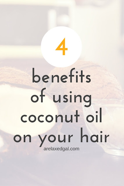 Coconut oil has become a popular key hair product. Here are 4 benefits from using coconut oil in a relaxed, colored or natural hair regimen. | arelaxedgal.com