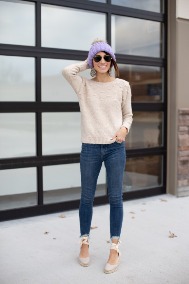 Sweaters and High-Waisted Denim Outfit - One Little Momma