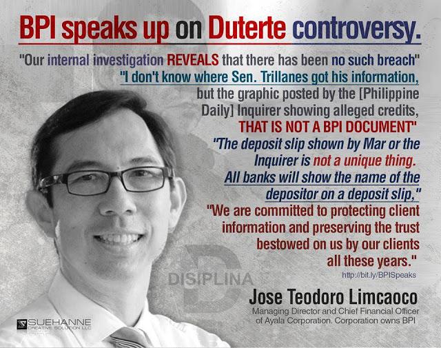 Management of BPI released a statement regarding the P211 Million account of Duterte!