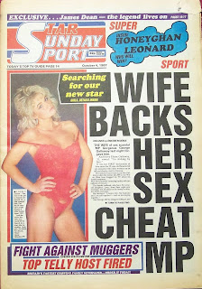 front page of the Star Sunday Sport newspaper from 4th October 1987