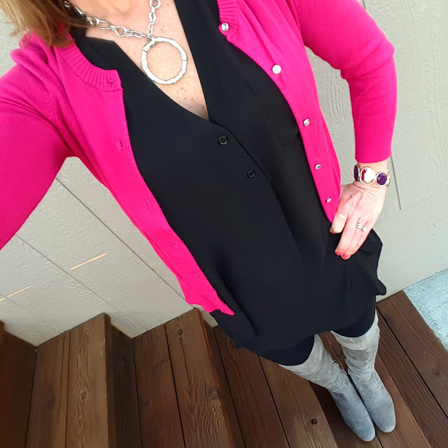 Express Cardigan Sweater (this year's version) // Lush Top (similar - 65% off!) // Zella Live In Leggings - they are 25% off in bright blue and navy and here is a similar style on sale for $23 // Sam Edelman Elina OTK Boots