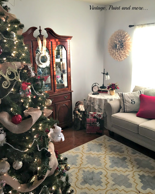 neutral living room with touches of vintage industrial dressed for Christmas