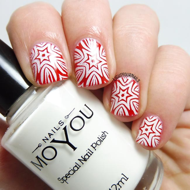 Christmas stars stamping nail art