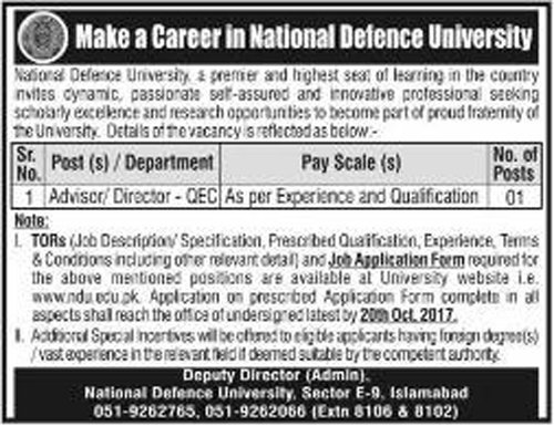 Advisor, Director Jobs In National Defence University Islamabad Oct 2017