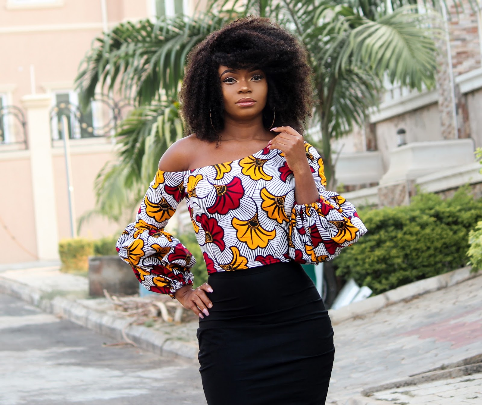 ANKARA TOP + BLACK MIDI SKIRT - African 'Kpotuba' Print Skewed Neckline Top with Black Midi Skirt