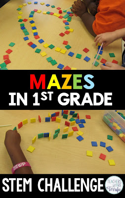 STEM blog post about Mazes in first grade. Includes photos and  hints about how to make this work. We made some mistakes and had to learn to use the materials well. This one is easy- use colored tiles for your maze walls!