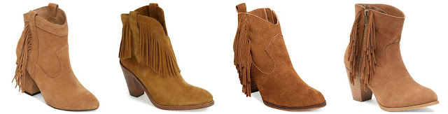 One of these pairs of fringe booties is from Saint Laurent for $1,195 and the other three are all under $100. Can you guess which on is the designer pair? Click the links below to see if you are correct!