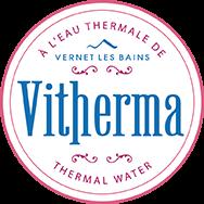 logo de Vitherma fabriquant de soins cosmétiques à l'eau minérale de Vernet les Bains