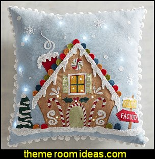 LED Light-Up Gingerbread House Pillow   Christmas decorating ideas - Christmas decor - Christmas decorations - Christmas kitchen decor - santa belly pillows - Santa Suit Duvet covers - Christmas bedding - Christmas pillows - Christmas  bedroom decor  - winter decorating ideas - winter wonderland decorating - Christmas Stockings Holiday decor Santa Claus - decorating for Christmas - 3d Christmas cards - xmas tree decor