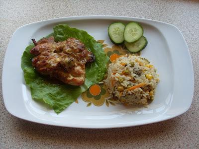 Ρυζι λαχανικά  και νόστιμο ψητό κοτόπουλο