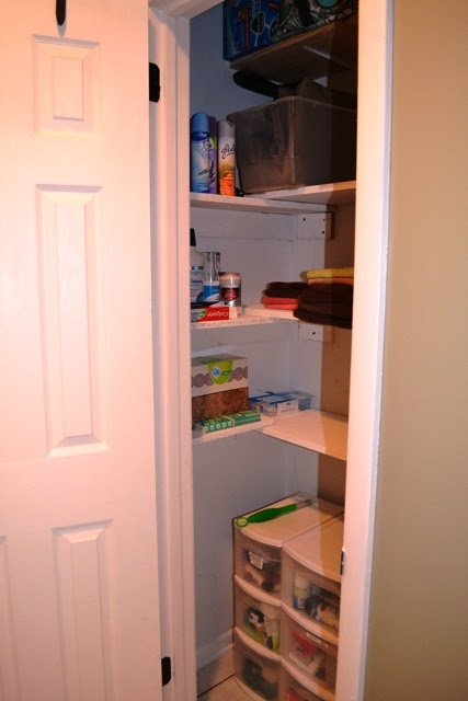 The Shelves Used To Come All Way From Back Of Closet Door Frame Just By Cutting Board In Half And Placing Those Same Boards On
