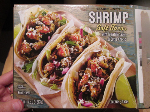 Trader Joe's Shrimp Soft Tacos with Tomatillo Sauce and Cotija Cheese
