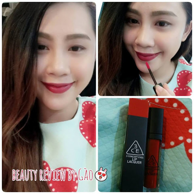 gào review, review mỹ phẩm, review son, son 3ce, son đỏ lì, son lì, son 3 concept eyes, mài son 3CE lip lacquare backstage